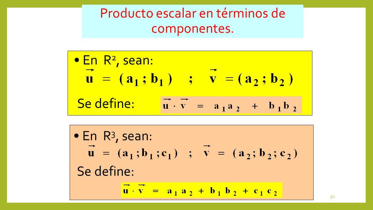 Producto escalar en términos de componentes.