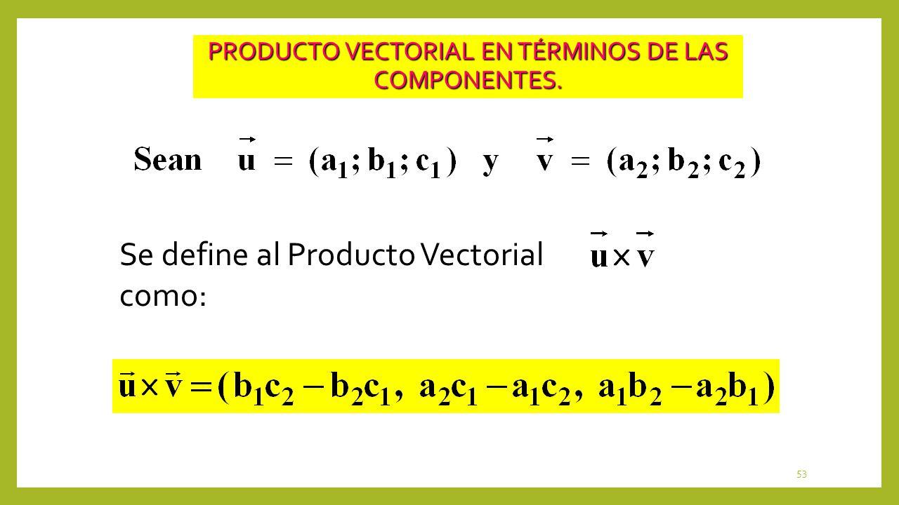 PRODUCTO VECTORIAL EN TÉRMINOS DE LAS COMPONENTES.