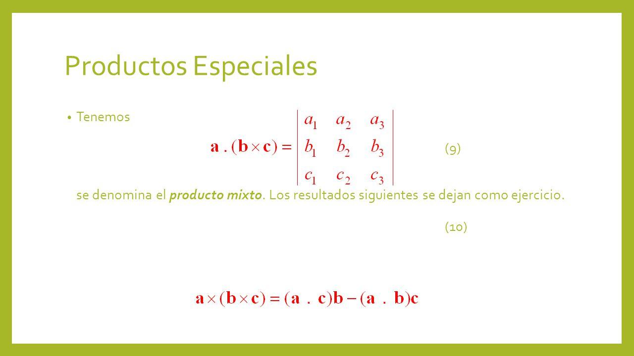 Productos Especiales Tenemos (9) se denomina el producto mixto.
