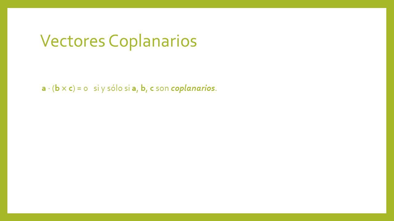 Vectores Coplanarios a  (b  c) = 0 si y sólo si a, b, c son coplanarios.