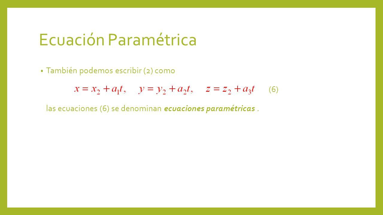 Ecuación Paramétrica También podemos escribir (2) como (6) las ecuaciones (6) se denominan ecuaciones paramétricas .