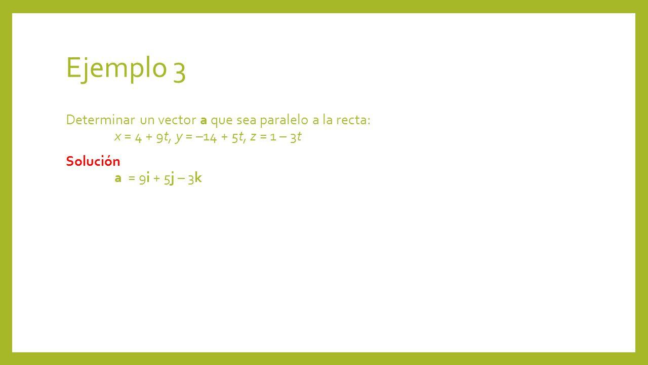 Ejemplo 3 Determinar un vector a que sea paralelo a la recta: x = 4 + 9t, y = –14 + 5t, z = 1 – 3t Solución a = 9i + 5j – 3k