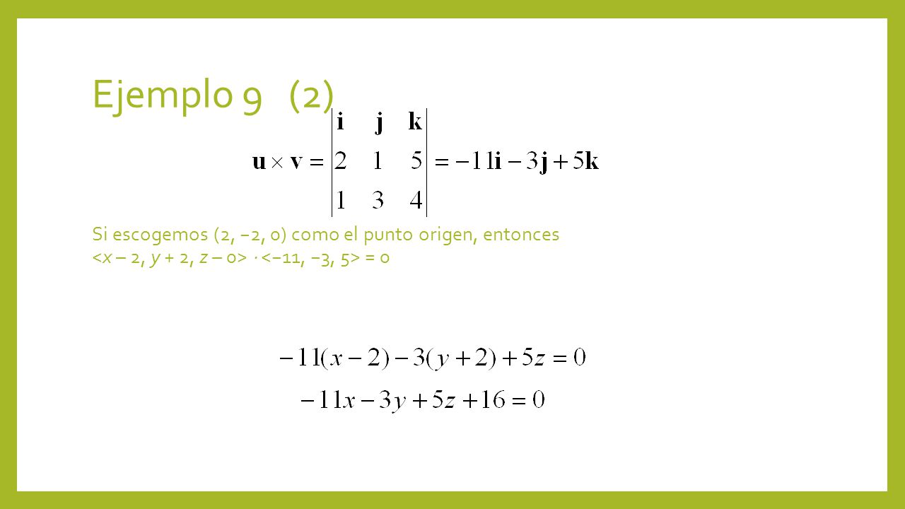 Ejemplo 9 (2) Si escogemos (2, −2, 0) como el punto origen, entonces <x – 2, y + 2, z – 0>  <−11, −3, 5> = 0.