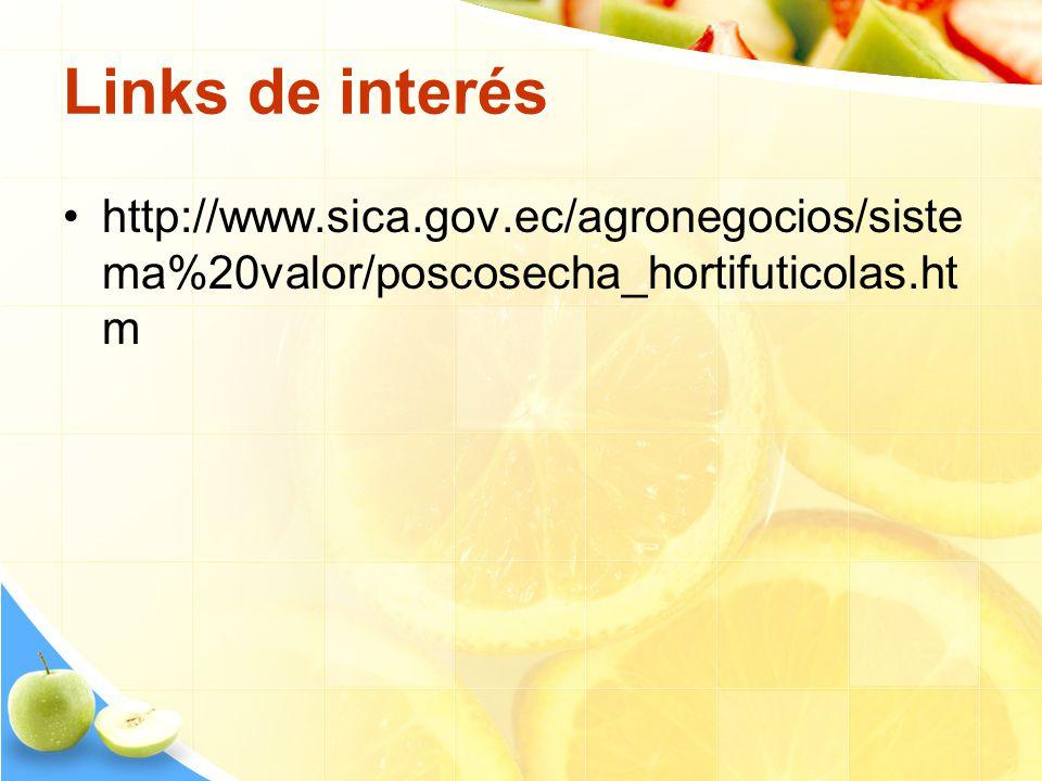 Links de interés http://www.sica.gov.ec/agronegocios/sistema%20valor/poscosecha_hortifuticolas.htm