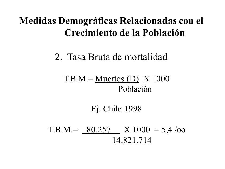 Medidas Demográficas Relacionadas con el Crecimiento de la Población