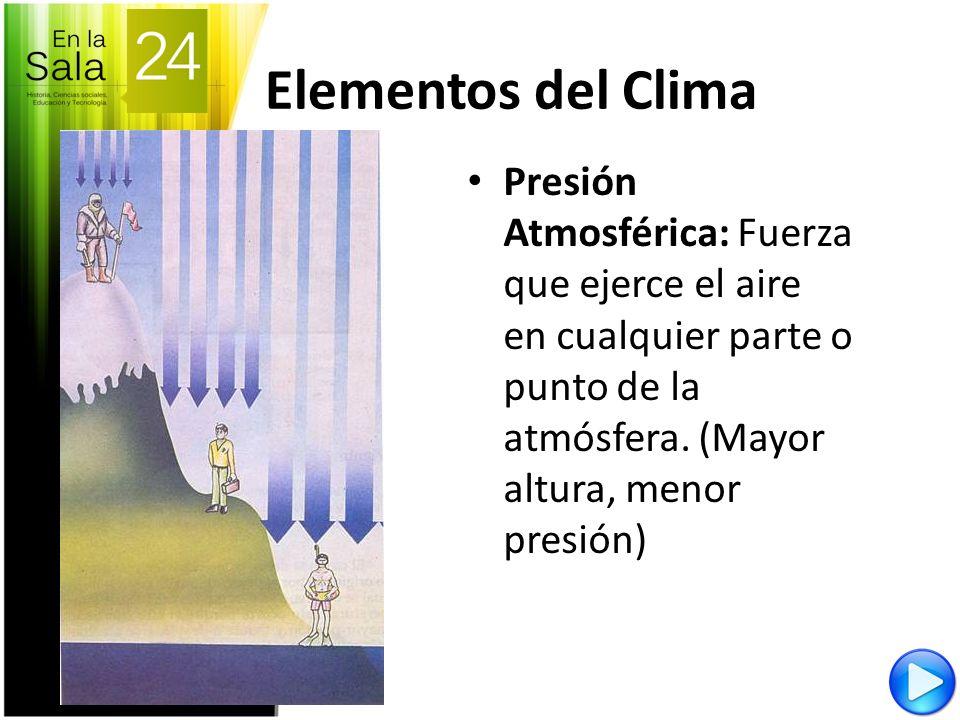 Elementos del ClimaPresión Atmosférica: Fuerza que ejerce el aire en cualquier parte o punto de la atmósfera.