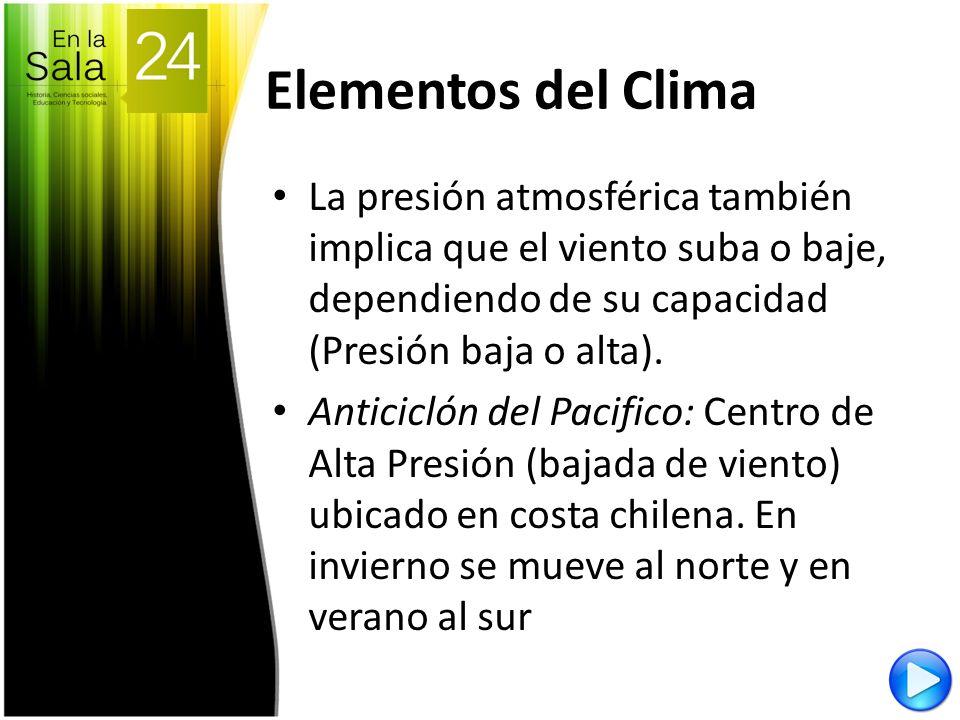 Elementos del Clima La presión atmosférica también implica que el viento suba o baje, dependiendo de su capacidad (Presión baja o alta).