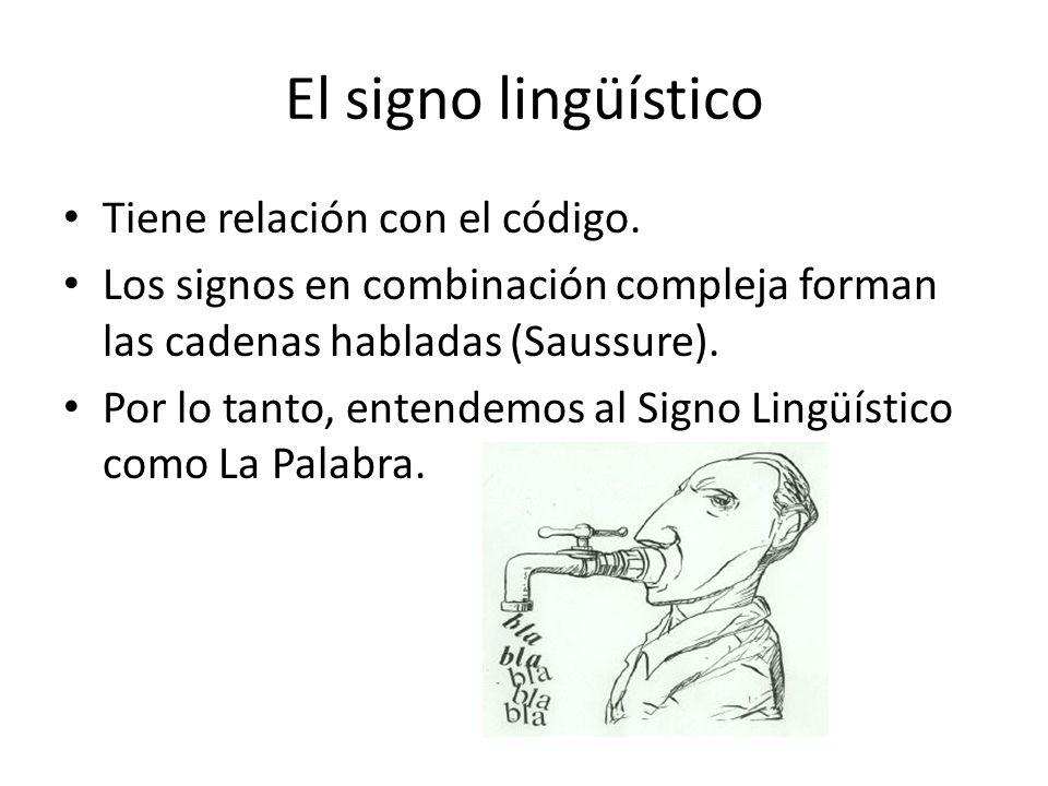 El signo lingüístico Tiene relación con el código.