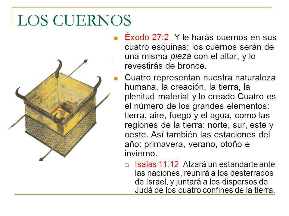 LOS CUERNOS Éxodo 27:2 Y le harás cuernos en sus cuatro esquinas; los cuernos serán de una misma pieza con el altar, y lo revestirás de bronce.