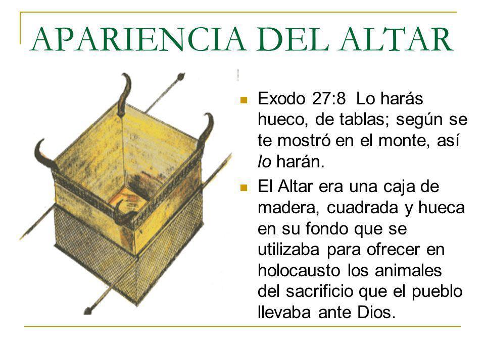 APARIENCIA DEL ALTARExodo 27:8 Lo harás hueco, de tablas; según se te mostró en el monte, así lo harán.