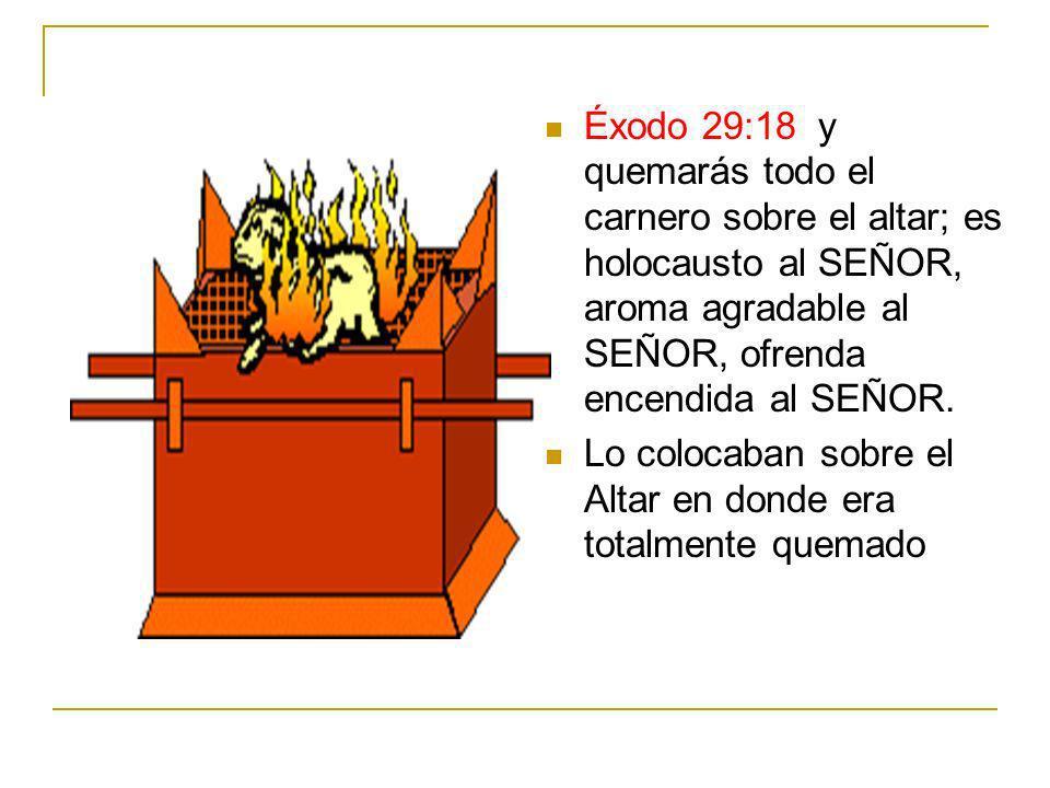 Éxodo 29:18 y quemarás todo el carnero sobre el altar; es holocausto al SEÑOR, aroma agradable al SEÑOR, ofrenda encendida al SEÑOR.