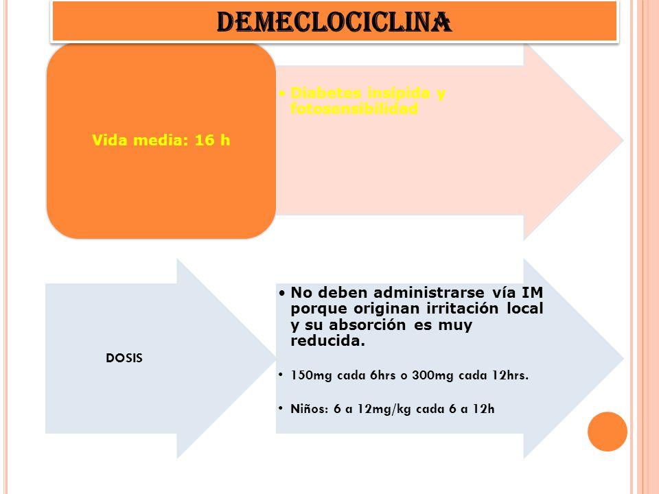 DEMECLOCICLINA Diabetes insípida y fotosensibilidad Vida media: 16 h