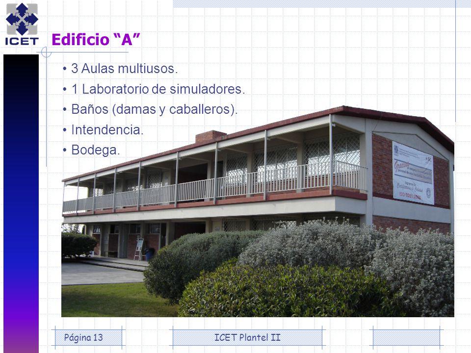 Edificio A 3 Aulas multiusos. 1 Laboratorio de simuladores.