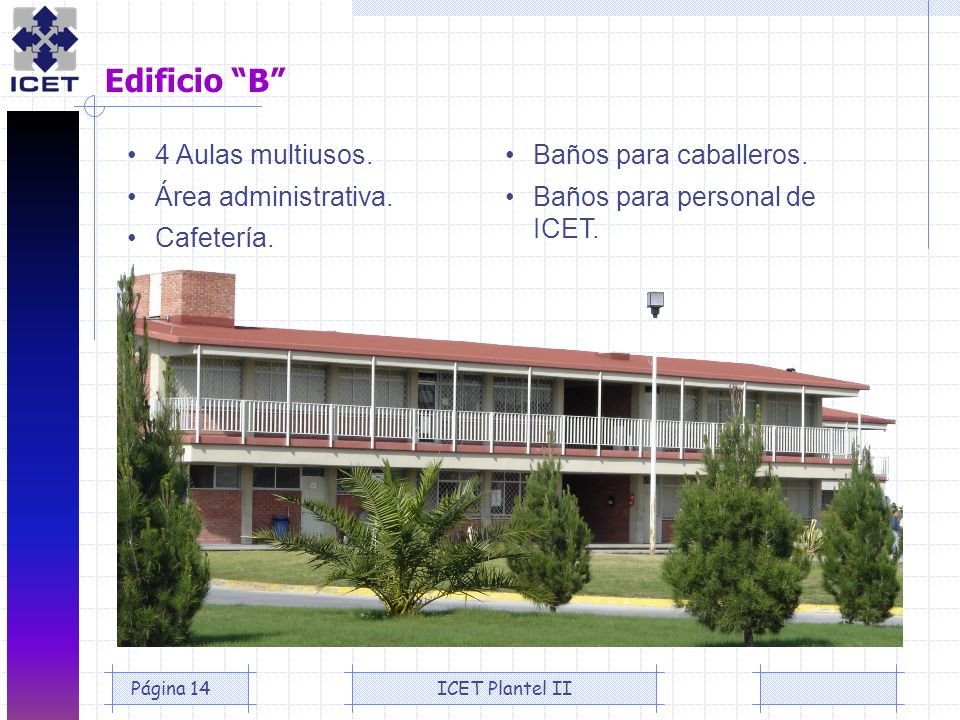 Edificio B • 4 Aulas multiusos. • Área administrativa. • Cafetería.