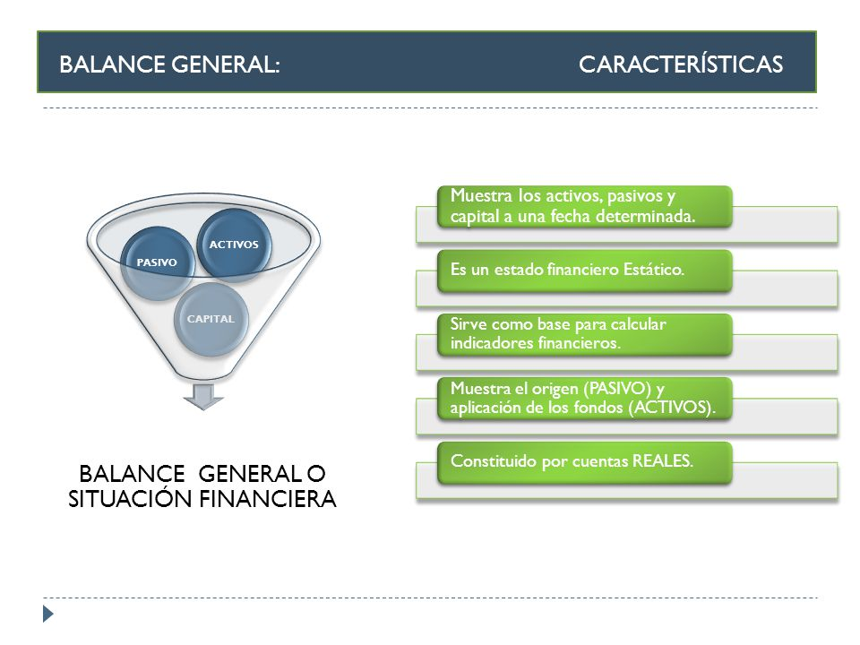 BALANCE GENERAL O SITUACIÓN FINANCIERA