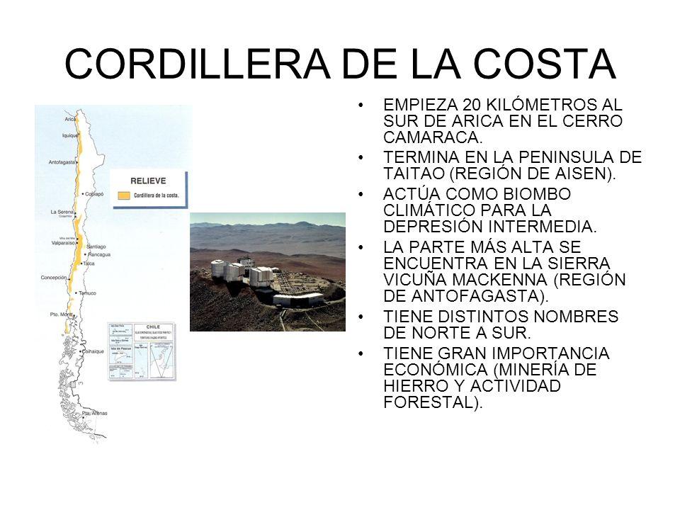CORDILLERA DE LA COSTAEMPIEZA 20 KILÓMETROS AL SUR DE ARICA EN EL CERRO CAMARACA. TERMINA EN LA PENINSULA DE TAITAO (REGIÓN DE AISEN).