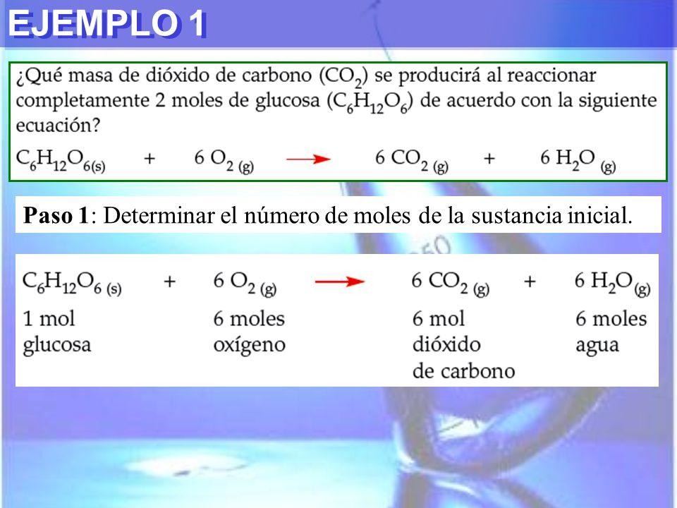 EJEMPLO 1 Paso 1: Determinar el número de moles de la sustancia inicial.