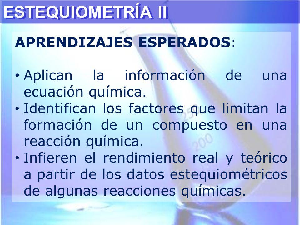 ESTEQUIOMETRÍA II APRENDIZAJES ESPERADOS: