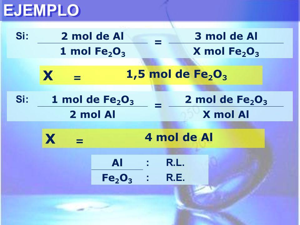 EJEMPLO X X 1,5 mol de Fe2O3 4 mol de Al Si: 2 mol de Al = 3 mol de Al