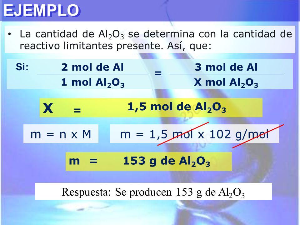 Respuesta: Se producen 153 g de Al2O3