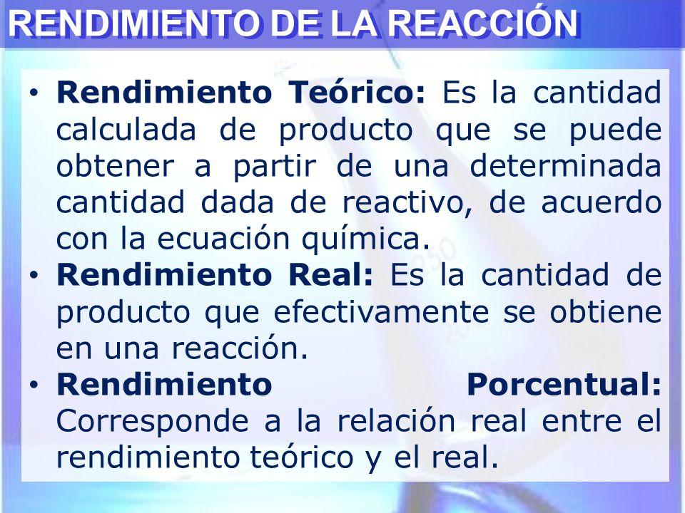 RENDIMIENTO DE LA REACCIÓN