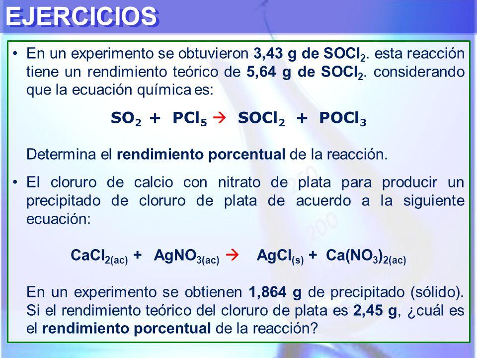 CaCl2(ac) + AgNO3(ac)  AgCl(s) + Ca(NO3)2(ac)