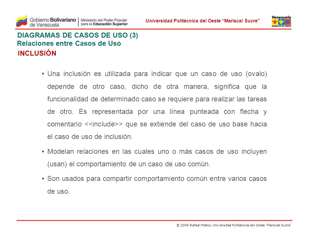 DIAGRAMAS DE CASOS DE USO (3) Relaciones entre Casos de Uso INCLUSIÓN