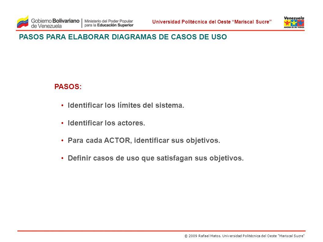 PASOS PARA ELABORAR DIAGRAMAS DE CASOS DE USO