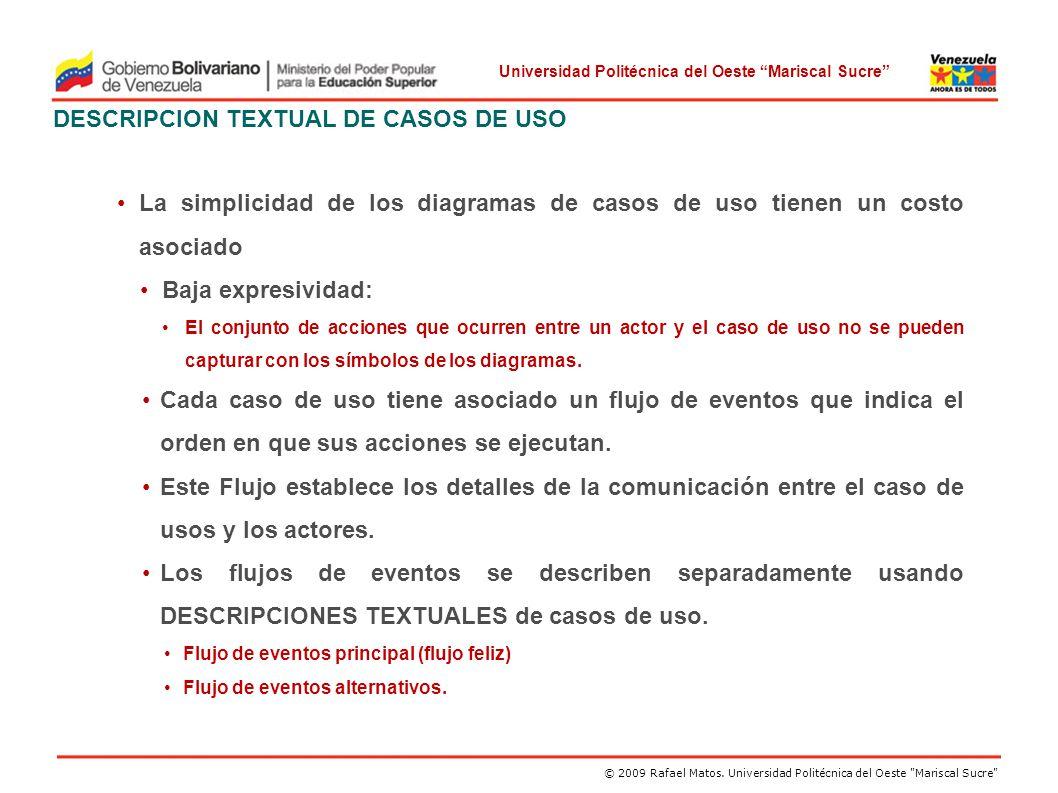 DESCRIPCION TEXTUAL DE CASOS DE USO