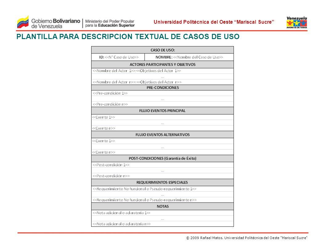 PLANTILLA PARA DESCRIPCION TEXTUAL DE CASOS DE USO