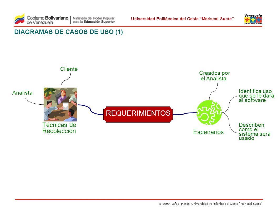REQUERIMIENTOS DIAGRAMAS DE CASOS DE USO (1) Técnicas de Recolección