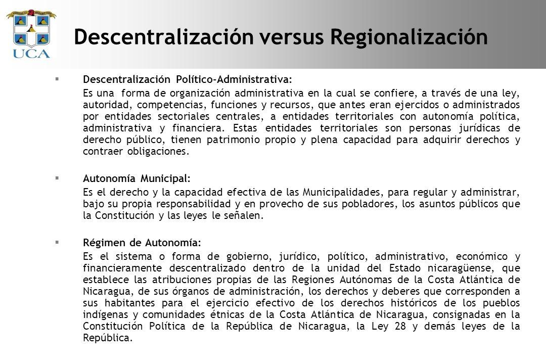 Descentralización versus Regionalización