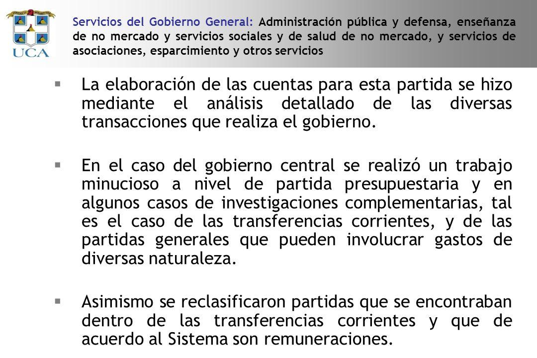 Servicios del Gobierno General: Administración pública y defensa, enseñanza de no mercado y servicios sociales y de salud de no mercado, y servicios de asociaciones, esparcimiento y otros servicios