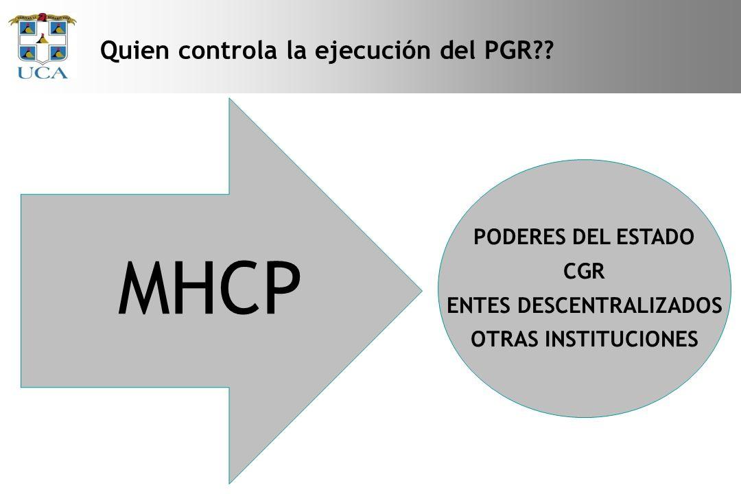 Quien controla la ejecución del PGR