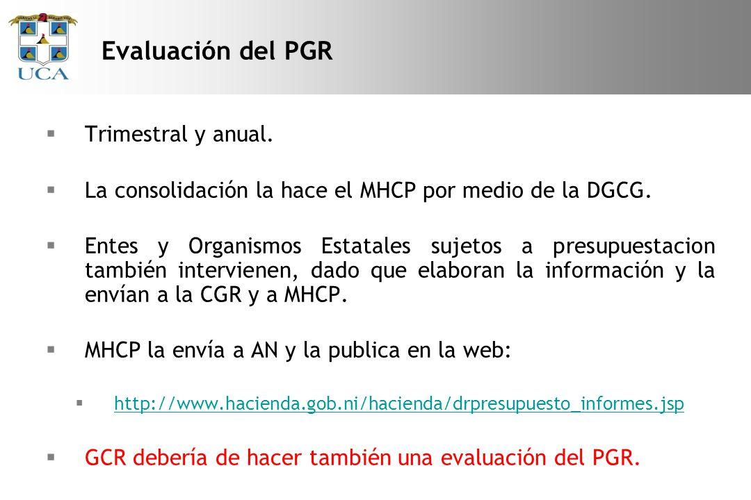 Evaluación del PGR Trimestral y anual.