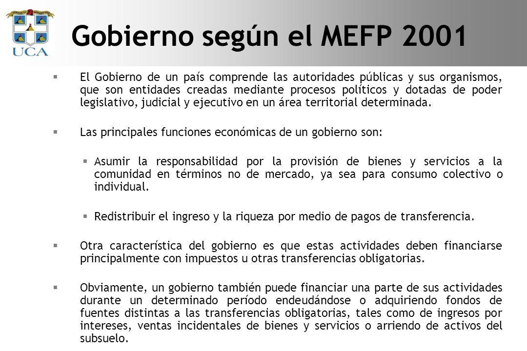 Gobierno según el MEFP 2001