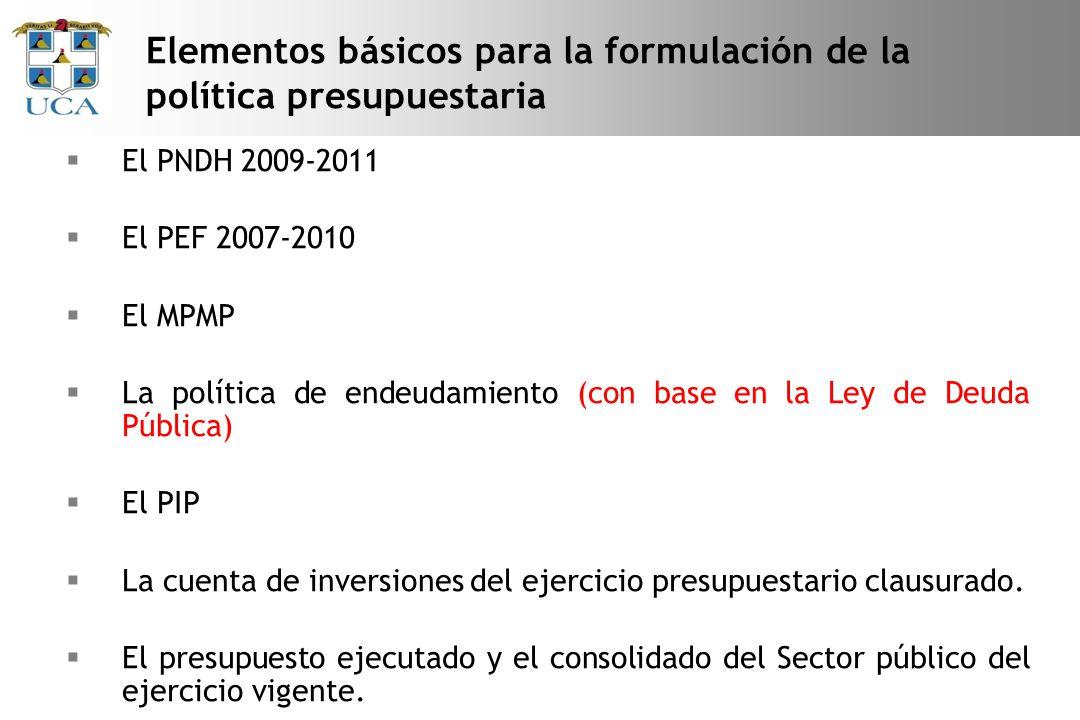 Elementos básicos para la formulación de la política presupuestaria