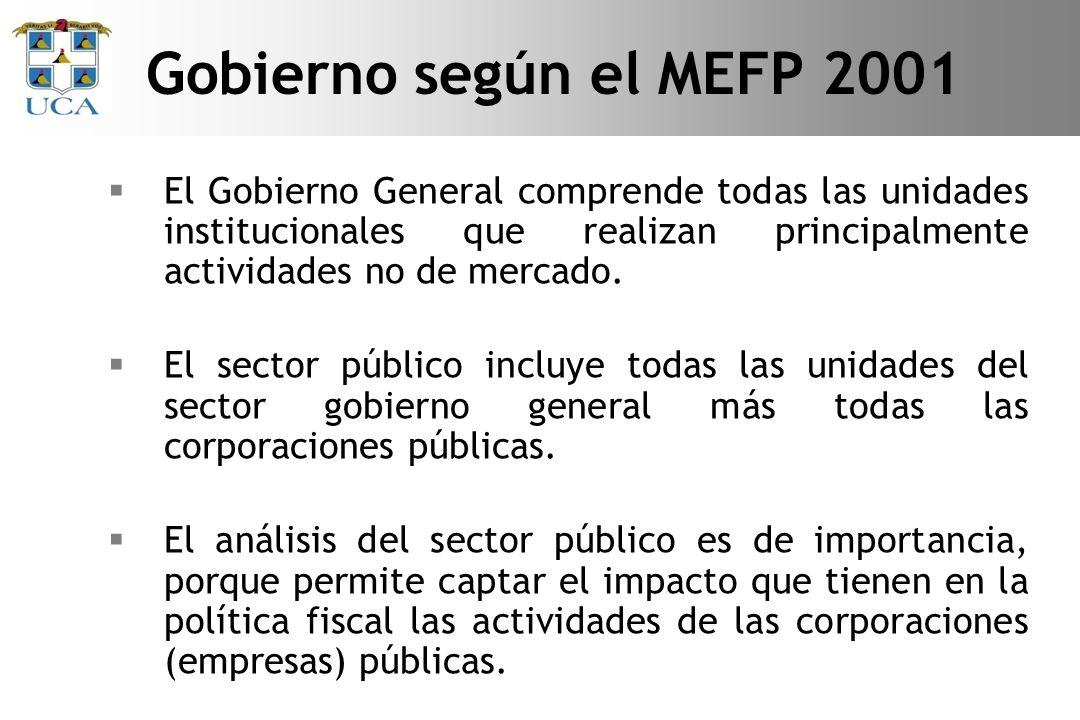 Gobierno según el MEFP 2001 El Gobierno General comprende todas las unidades institucionales que realizan principalmente actividades no de mercado.