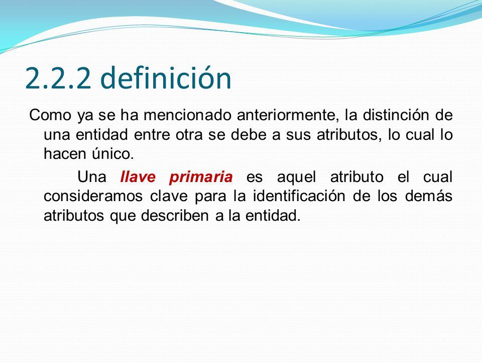 2.2.2 definición Como ya se ha mencionado anteriormente, la distinción de una entidad entre otra se debe a sus atributos, lo cual lo hacen único.