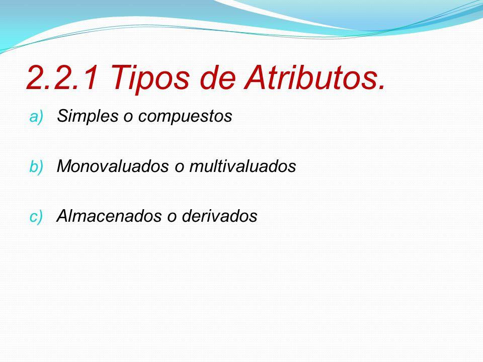 2.2.1 Tipos de Atributos. Simples o compuestos