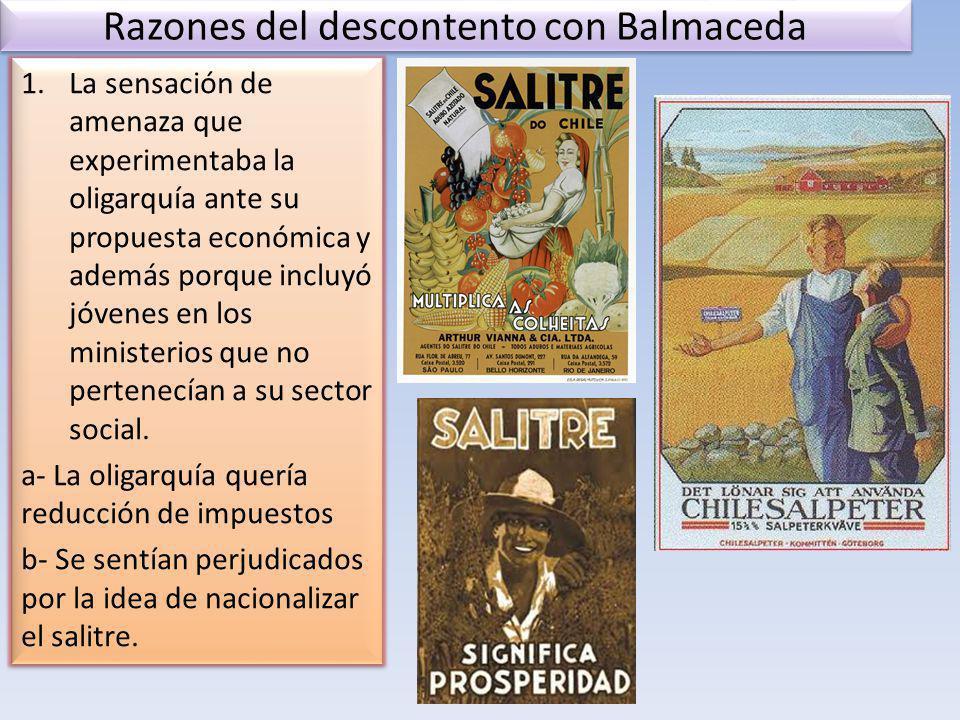 Razones del descontento con Balmaceda
