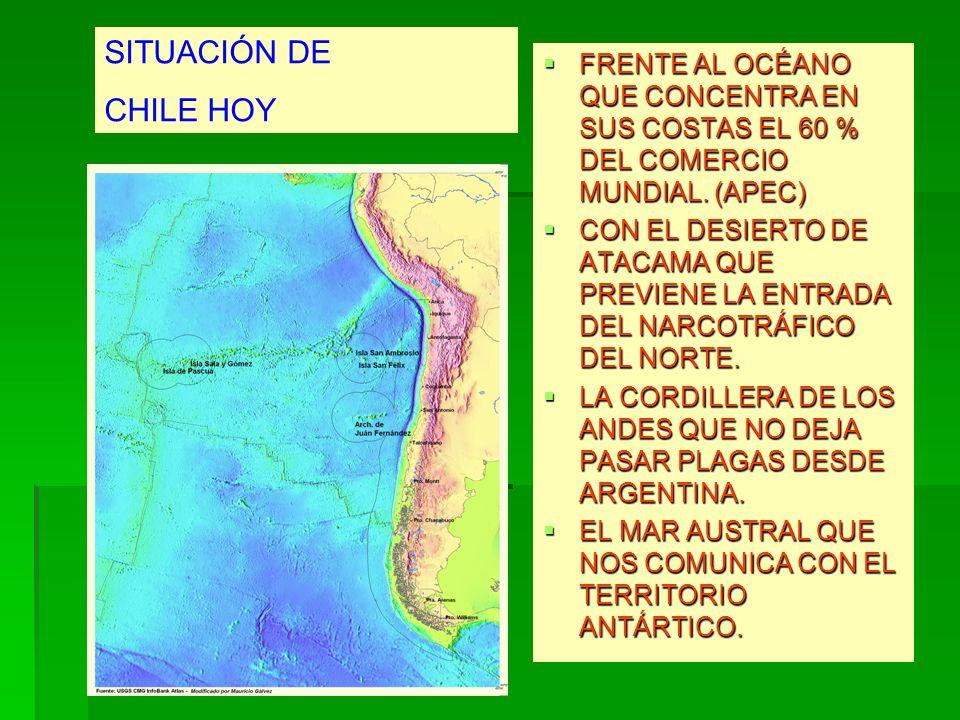 SITUACIÓN DE CHILE HOY. FRENTE AL OCÉANO QUE CONCENTRA EN SUS COSTAS EL 60 % DEL COMERCIO MUNDIAL. (APEC)