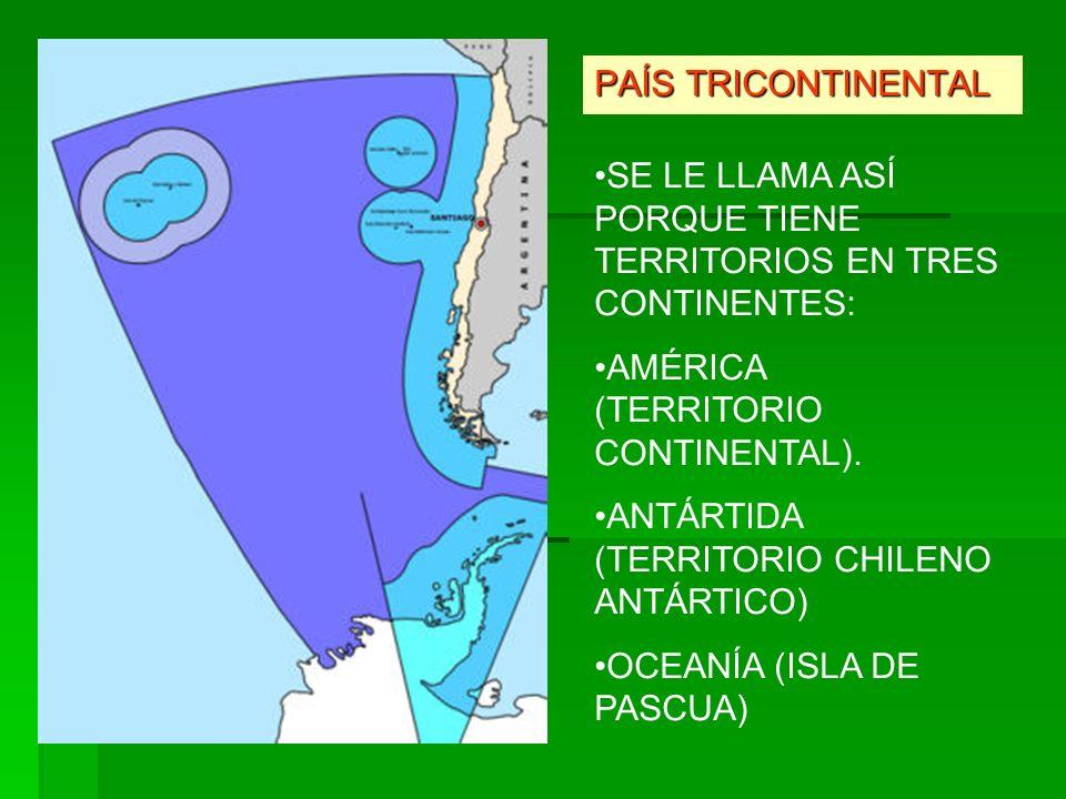 PAÍS TRICONTINENTAL SE LE LLAMA ASÍ PORQUE TIENE TERRITORIOS EN TRES CONTINENTES: AMÉRICA (TERRITORIO CONTINENTAL).