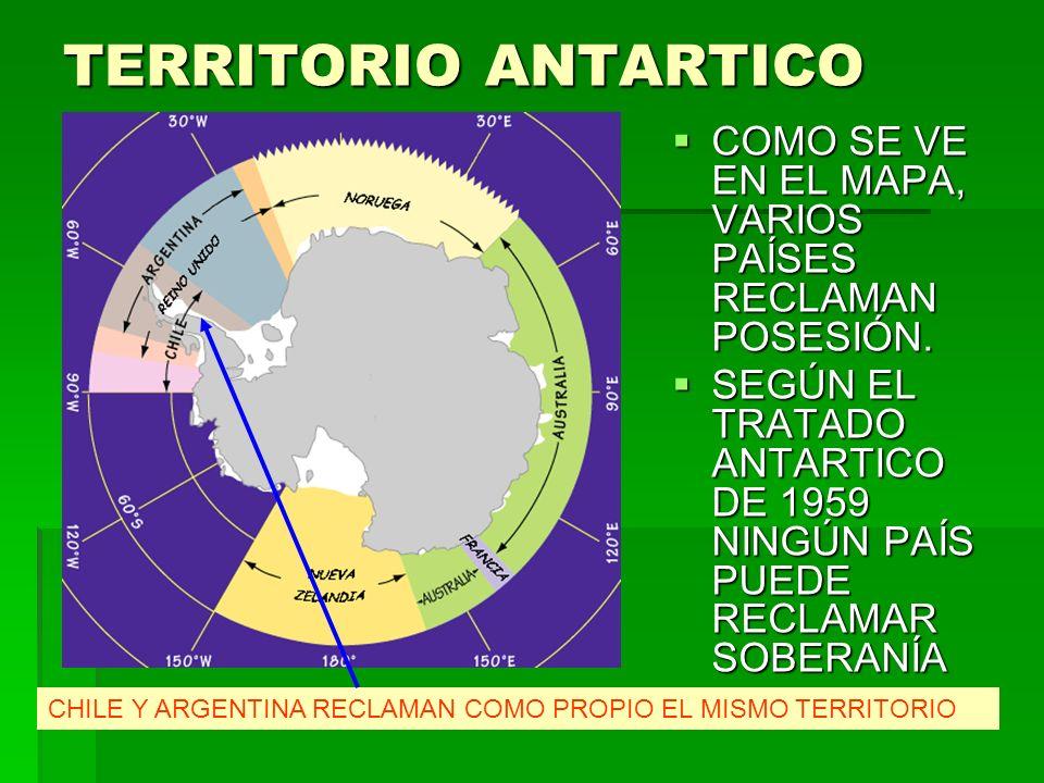 TERRITORIO ANTARTICO COMO SE VE EN EL MAPA, VARIOS PAÍSES RECLAMAN POSESIÓN.