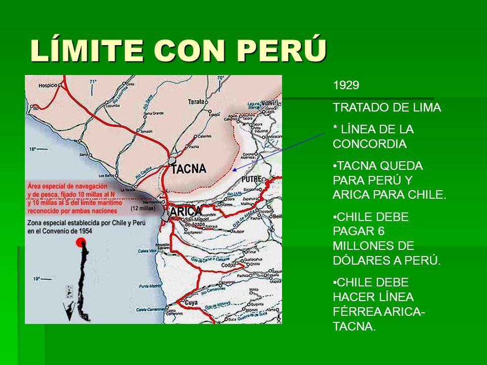 LÍMITE CON PERÚ 1929 TRATADO DE LIMA * LÍNEA DE LA CONCORDIA