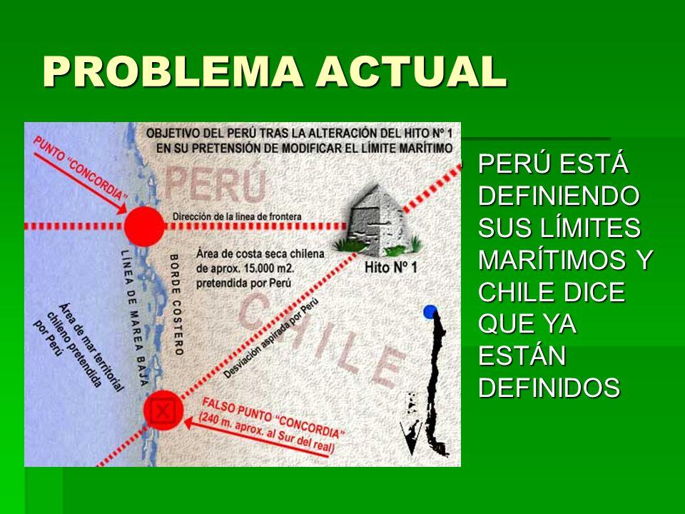 PROBLEMA ACTUAL PERÚ ESTÁ DEFINIENDO SUS LÍMITES MARÍTIMOS Y CHILE DICE QUE YA ESTÁN DEFINIDOS
