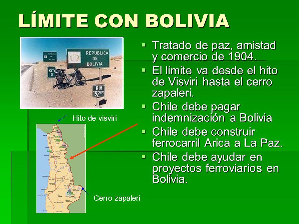 LÍMITE CON BOLIVIA Tratado de paz, amistad y comercio de 1904.
