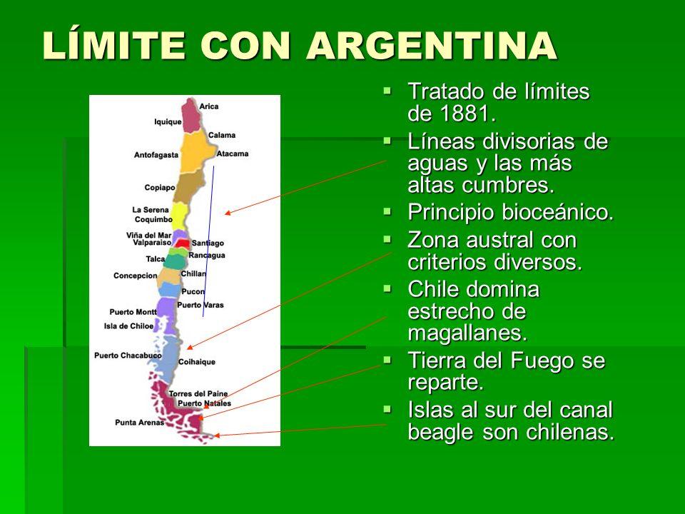 LÍMITE CON ARGENTINA Tratado de límites de 1881.