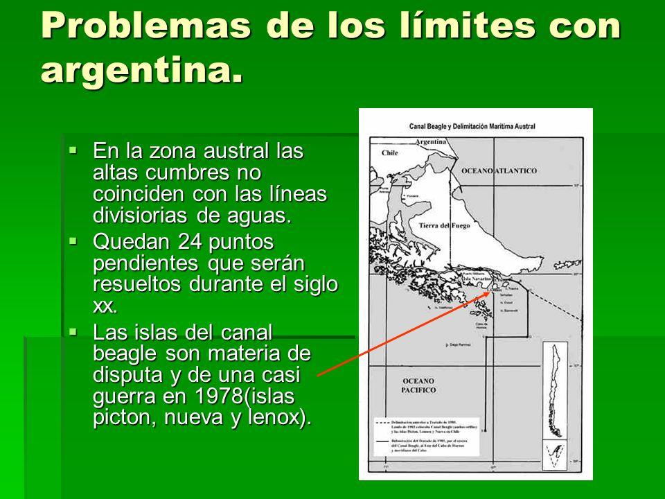 Problemas de los límites con argentina.