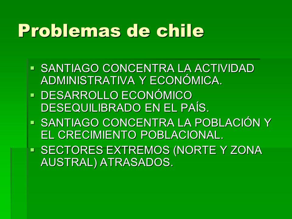 Problemas de chile SANTIAGO CONCENTRA LA ACTIVIDAD ADMINISTRATIVA Y ECONÓMICA. DESARROLLO ECONÓMICO DESEQUILIBRADO EN EL PAÍS.